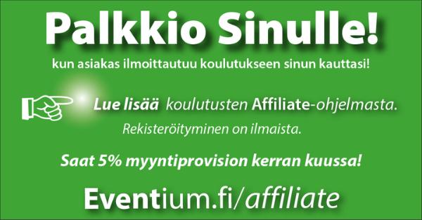 Eventium affiliate yhteistyökumppaniohjelma 5% provisio